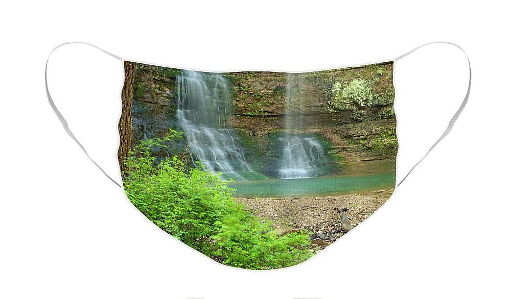 Landscape Face Mask featuring the photograph Tripple Falls in Springtime by Iris Greenwell