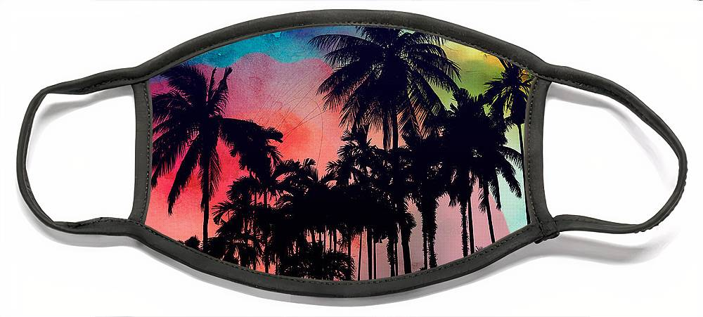 Face Mask featuring the painting Tropical Colors by Mark Ashkenazi