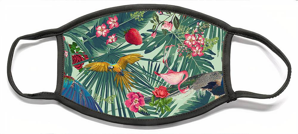 Summer Face Mask featuring the digital art Tropical Fun Time by Mark Ashkenazi