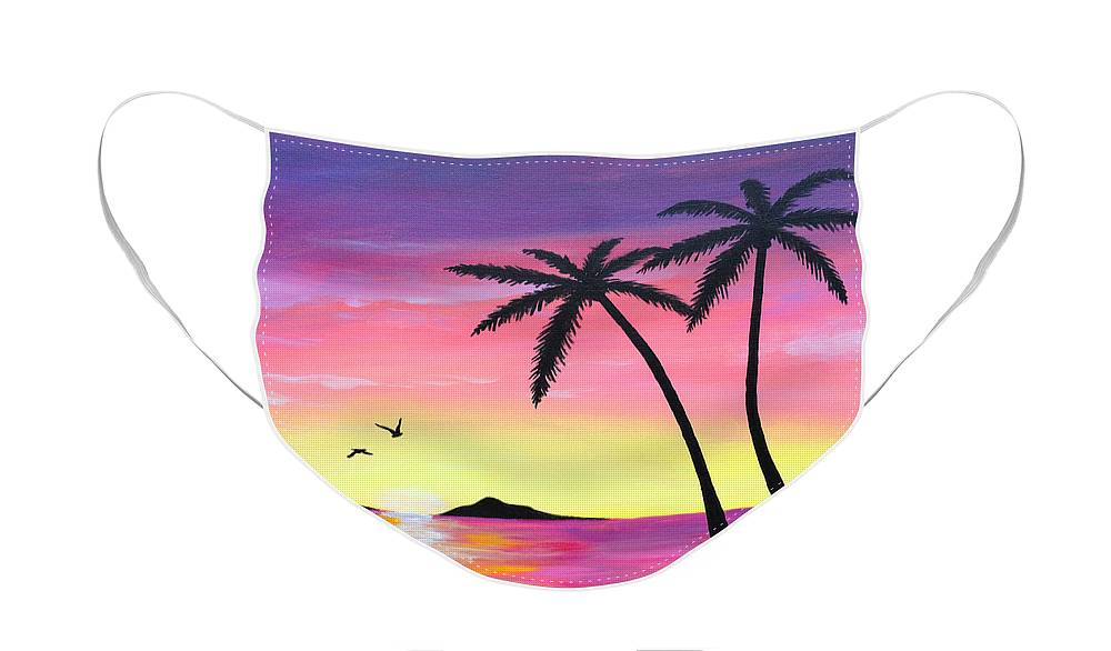 Animal Face Mask featuring the painting Tropical Sunrise by Christopher Spicer