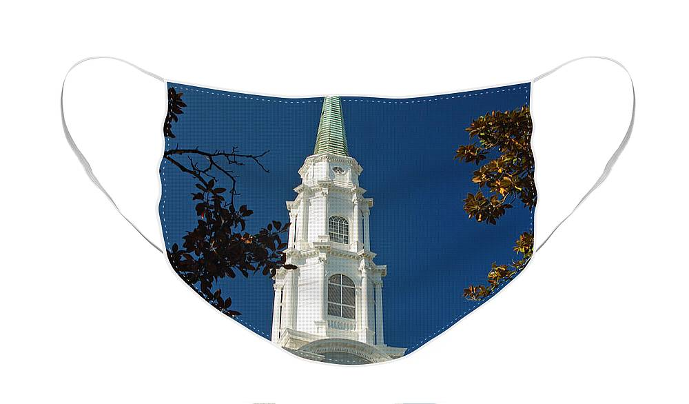 Steeple Face Mask featuring the photograph True North - Savannah Steeple by Suzanne Gaff
