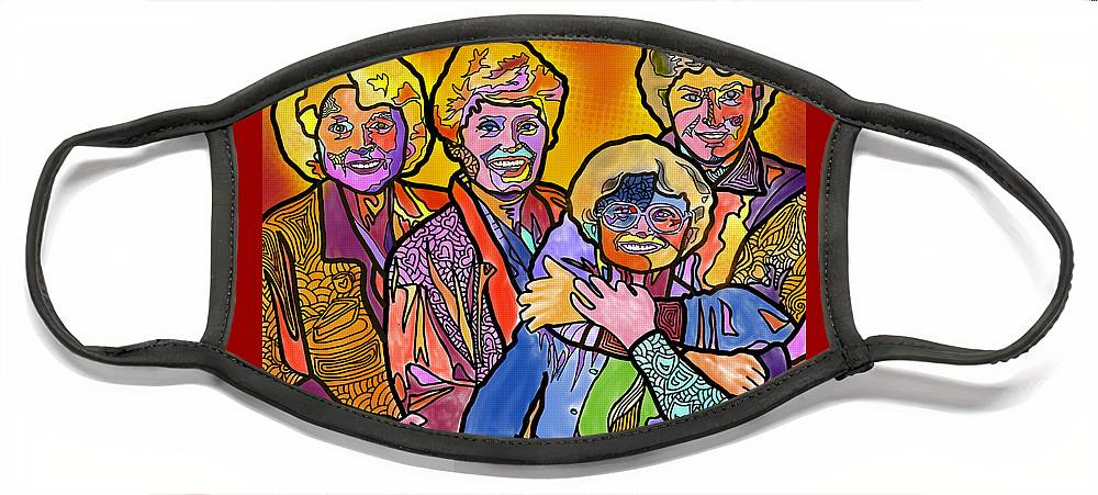 Golden Girls Face Mask featuring the digital art Truly Golden by Marconi Calindas