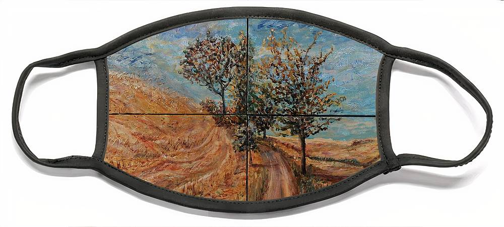 Landscape Face Mask featuring the painting Tuscan Journey by Nadine Rippelmeyer