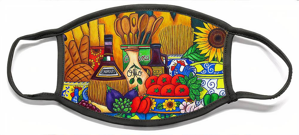 Still Life Face Mask featuring the painting Tuscany Delights by Lisa Lorenz