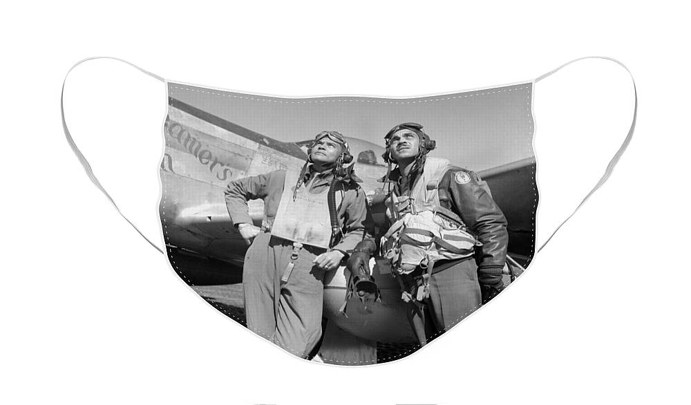 Benjamin Davis Face Mask featuring the photograph Tuskegee Airmen by War Is Hell Store