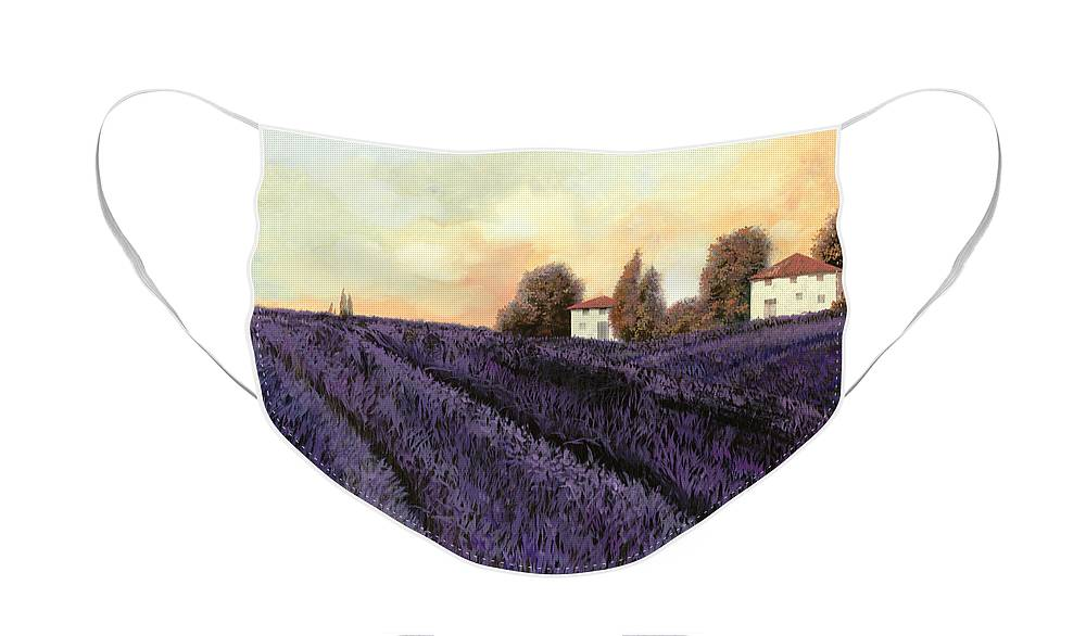 Lavender Face Mask featuring the painting Tutta lavanda by Guido Borelli