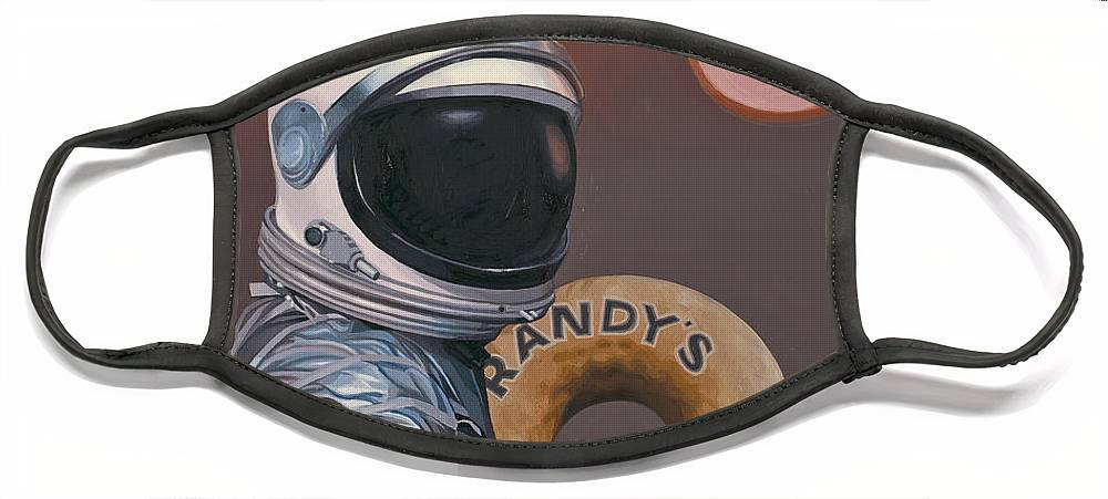 Space Face Mask featuring the painting Twin Suns and Donuts by Scott Listfield