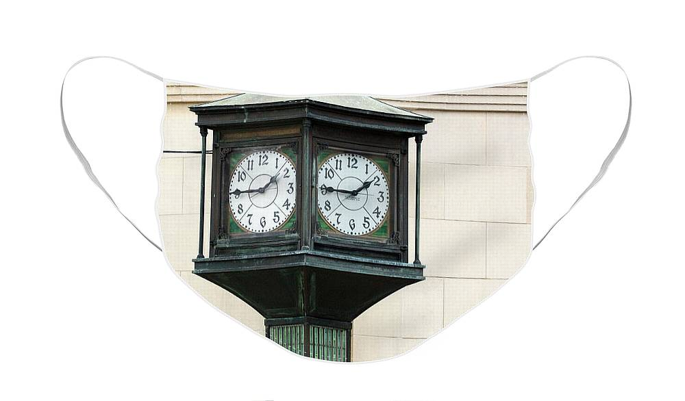 Time Clock Architecture Green Urban City Face Mask featuring the photograph Two Faced Time by Jill Reger