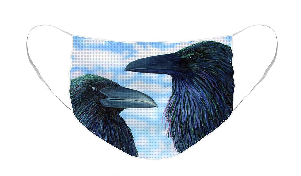 Raven Face Mask featuring the painting Two Ravens by Brian Commerford