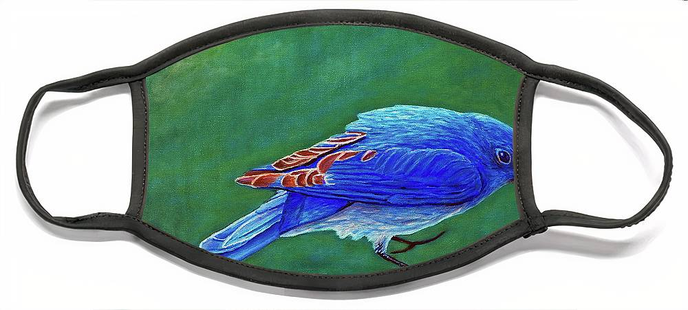 Bluebird Face Mask featuring the painting Two Step by Brian Commerford