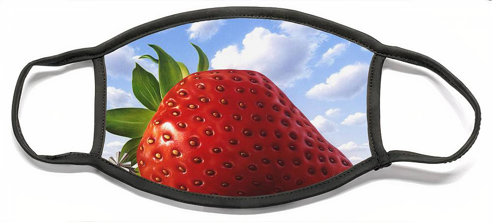 Strawberry Face Mask featuring the painting Unexpected Growth by Jerry LoFaro