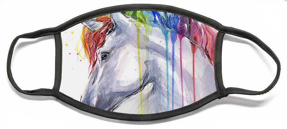 Magical Face Mask featuring the painting Unicorn Rainbow Watercolor by Olga Shvartsur