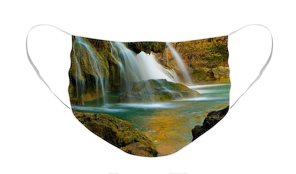 Landscape Face Mask featuring the photograph Unite Perspective of Turner Falls by Iris Greenwell
