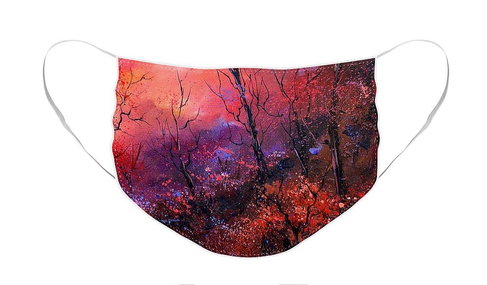 Wood Sunset Tree Face Mask featuring the painting Unset In The Wood by Pol Ledent