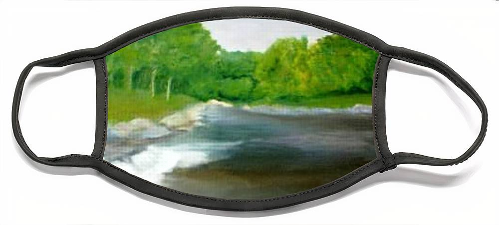River Face Mask featuring the painting Untitled Plein Aire by Sheila Mashaw