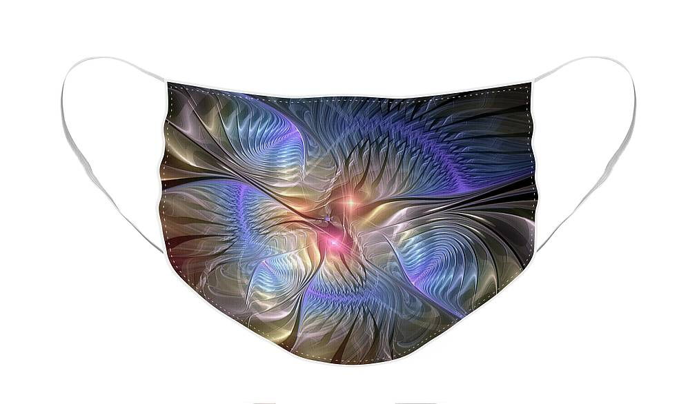Abstract Face Mask featuring the digital art Upon the Wings of Music by Casey Kotas