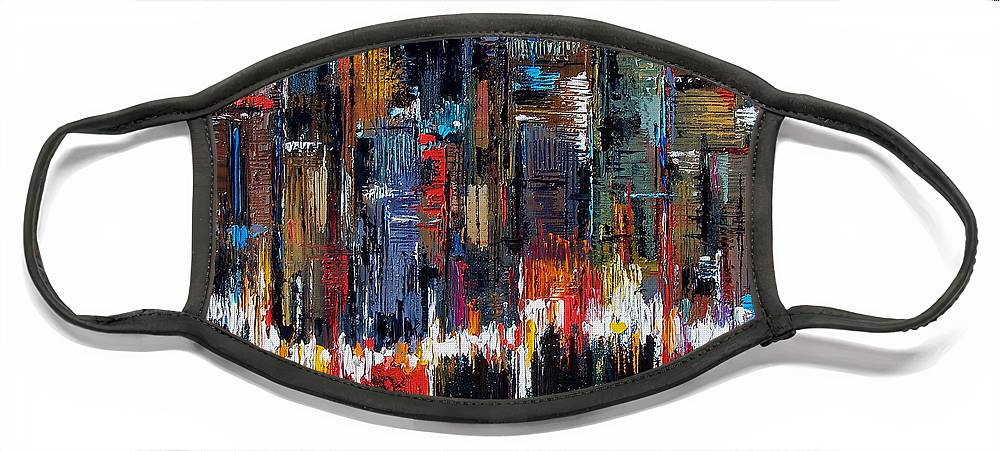 Abstract Face Mask featuring the painting Urban Pulse by Debra Hurd
