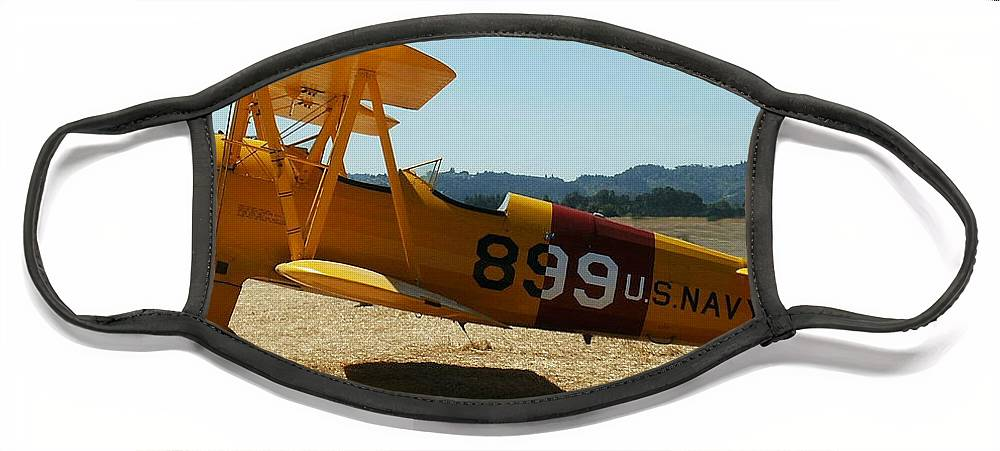 Diane Berry Face Mask featuring the painting US Navy biplane by Diane E Berry