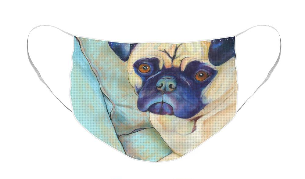 Pug Face Mask featuring the pastel Valentino by Pat Saunders-White