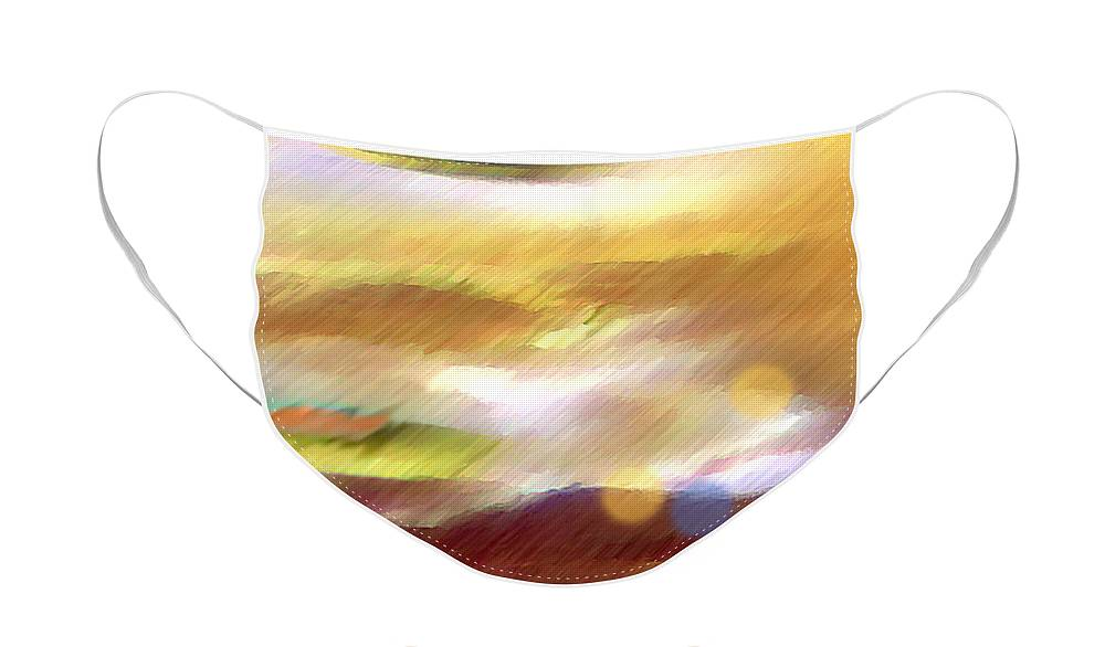 Landscape Face Mask featuring the painting Valleylights by Anil Nene
