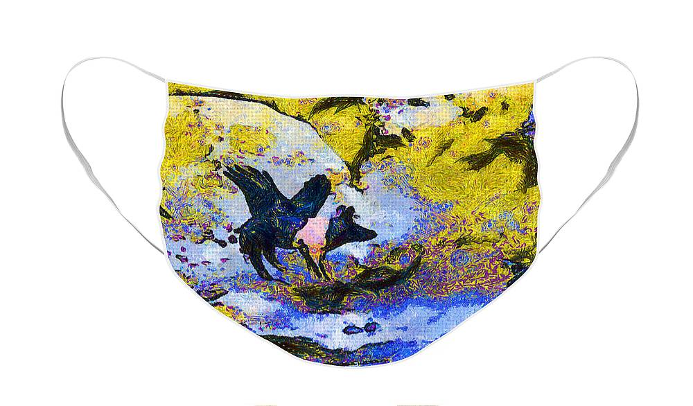 Animal Face Mask featuring the photograph Van Gogh.s Flying Pig 3 by Wingsdomain Art and Photography