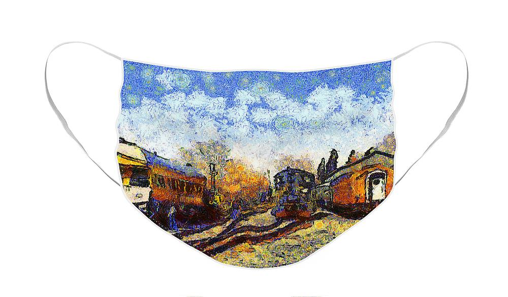 Transportation Face Mask featuring the photograph Van Gogh.s Train Station 7D11513 by Wingsdomain Art and Photography