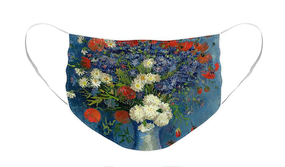 Still Face Mask featuring the painting Vase with Cornflowers and Poppies by Vincent Van Gogh
