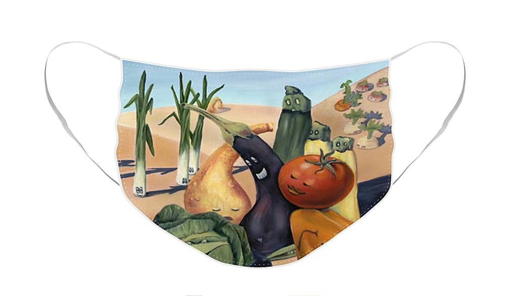 Veggies Face Mask featuring the painting Veg Out by Sandi Snead