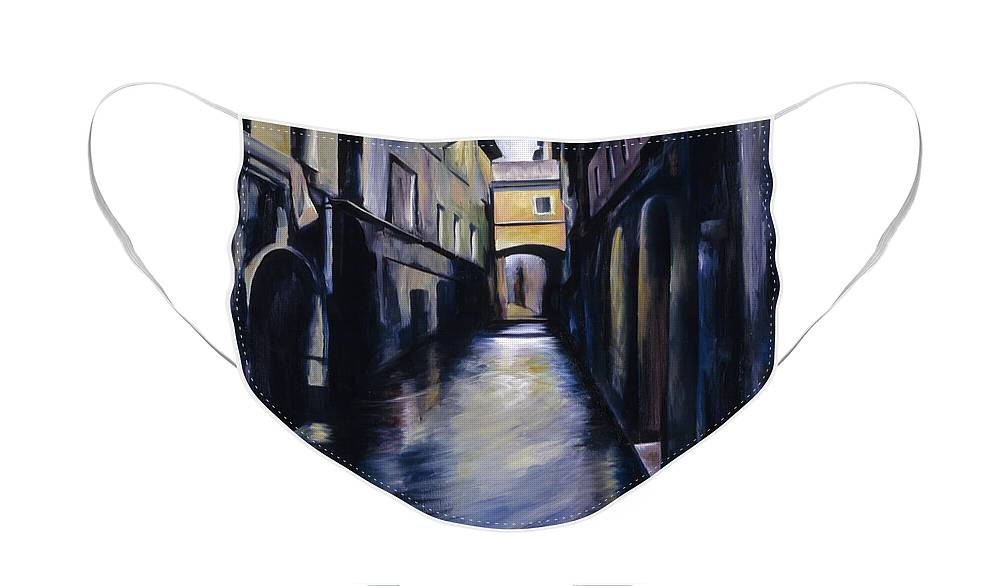 Street; Canal; Venice ; Desert; Abandoned; Delapidated; Lost; Highway; Route 66; Road; Vacancy; Run-down; Building; Old Signage; Nastalgia; Vintage; James Christopher Hill; Jameshillgallery.com; Foliage; Sky; Realism; Oils Face Mask featuring the painting Venice by James Christopher Hill