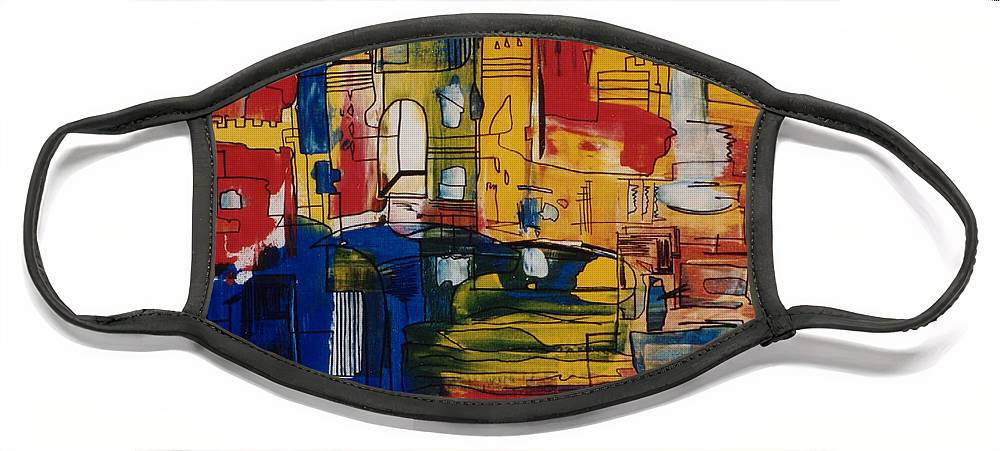 Italy Face Mask featuring the painting Venice by Michael Puya