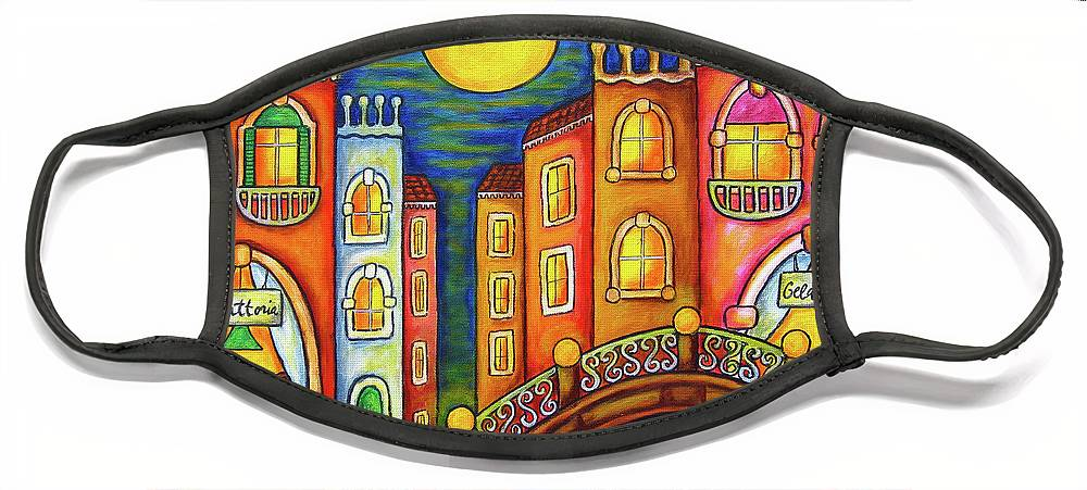 Colourful Face Mask featuring the painting Venice Soiree by Lisa Lorenz