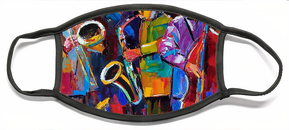 Jazz Face Mask featuring the painting Vibrant Jazz by Debra Hurd