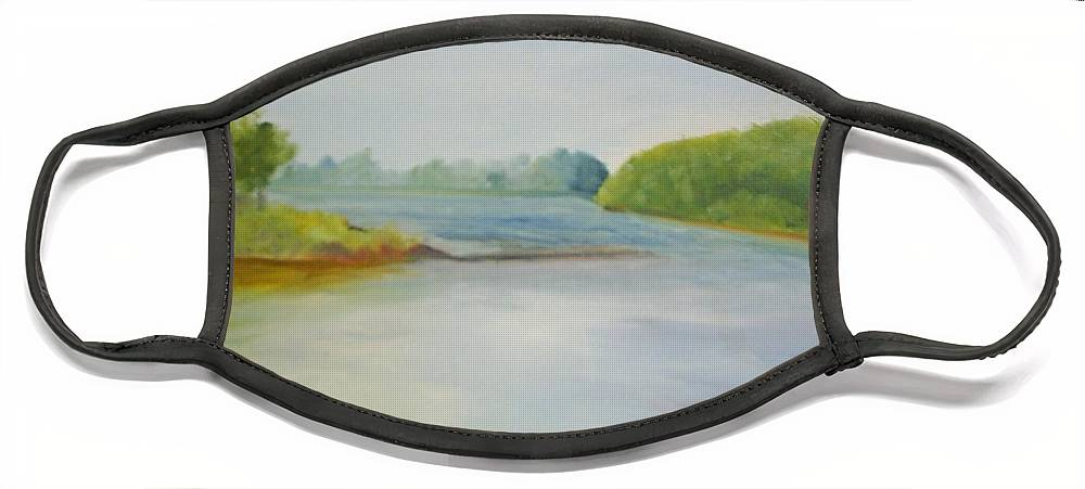 Delaware River Face Mask featuring the painting View of the Delaware by Sheila Mashaw