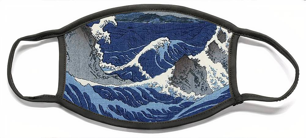 View Face Mask featuring the painting View of the Naruto whirlpools at Awa by Hiroshige