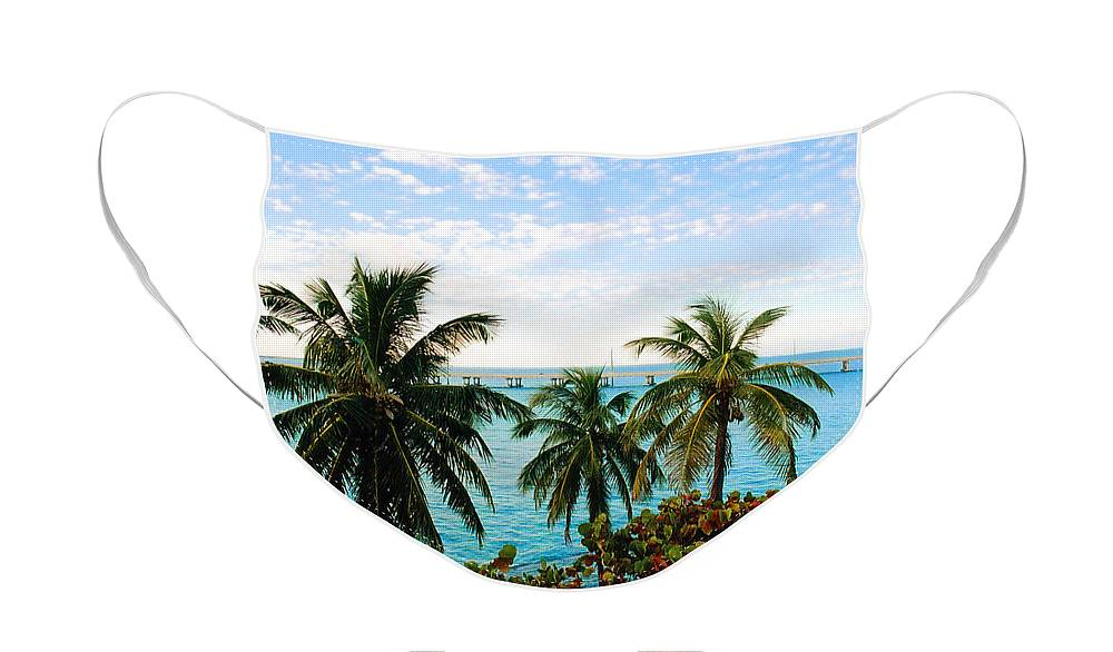 Tropical Face Mask featuring the photograph View to the 7 Mile Bridge by Susanne Van Hulst