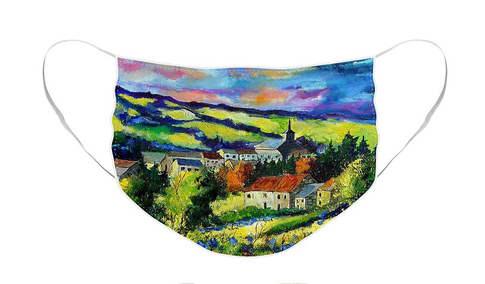 Landscape Face Mask featuring the painting Village and blue poppies by Pol Ledent