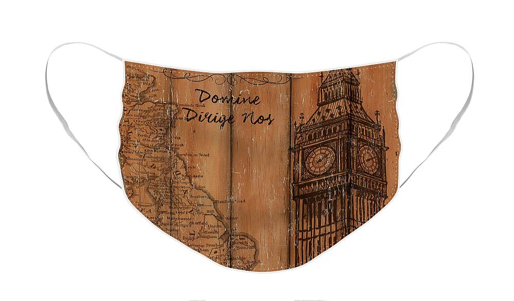 London Face Mask featuring the painting Vintage Travel London by Debbie DeWitt