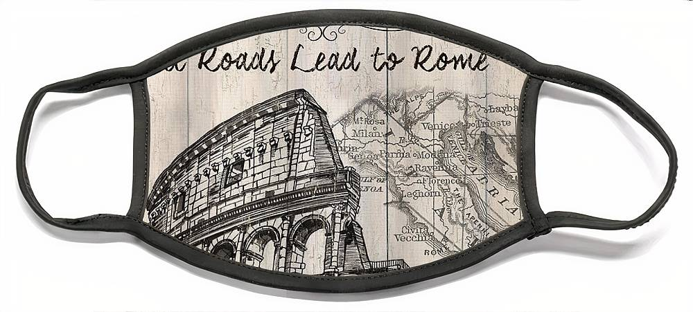 Rome Face Mask featuring the painting Vintage Travel Poster by Debbie DeWitt