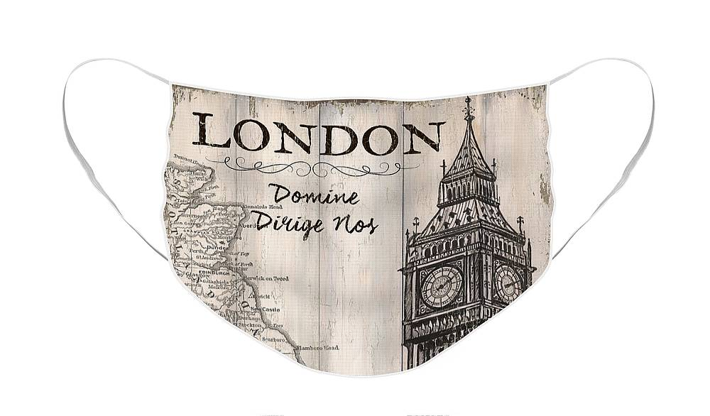 London Face Mask featuring the painting Vintage Travel Poster London by Debbie DeWitt