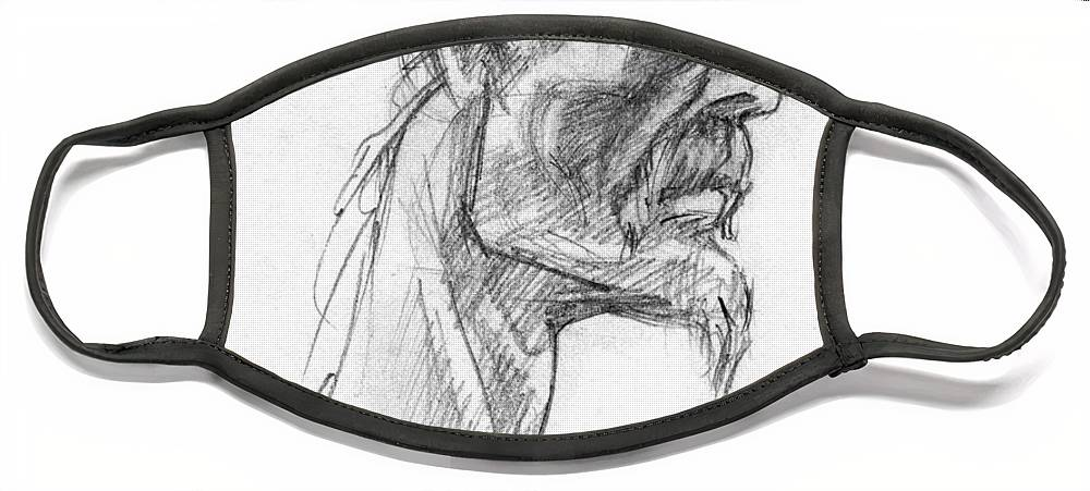 Celtic Face Mask featuring the drawing Vircingetorix by Scott Waters