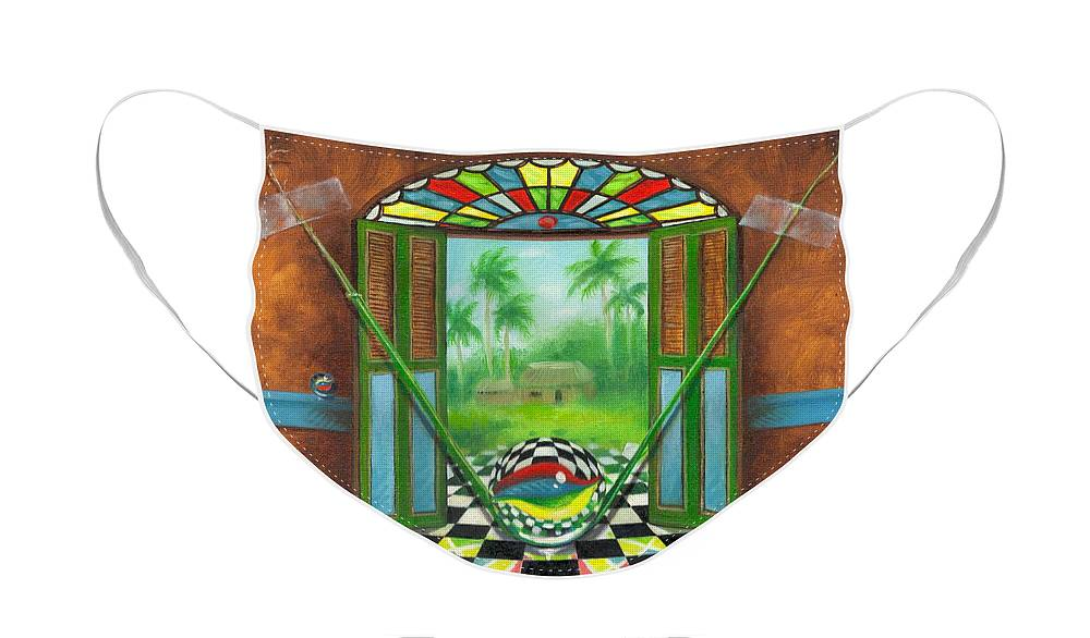 Marbles Face Mask featuring the painting Vitrales Campesino by Roger Calle