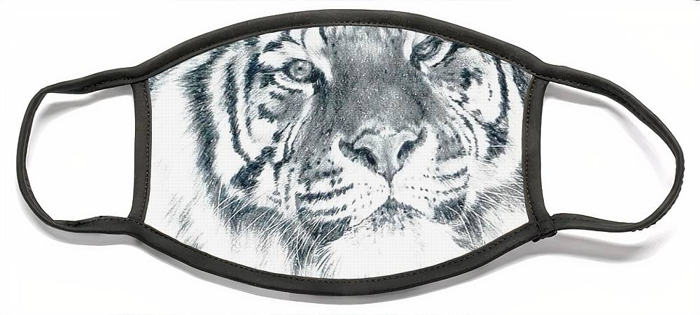 Tiger Face Mask featuring the drawing Voyager by Barbara Keith