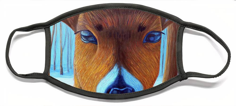 Deer Face Mask featuring the painting Wait For The Magic by Brian Commerford
