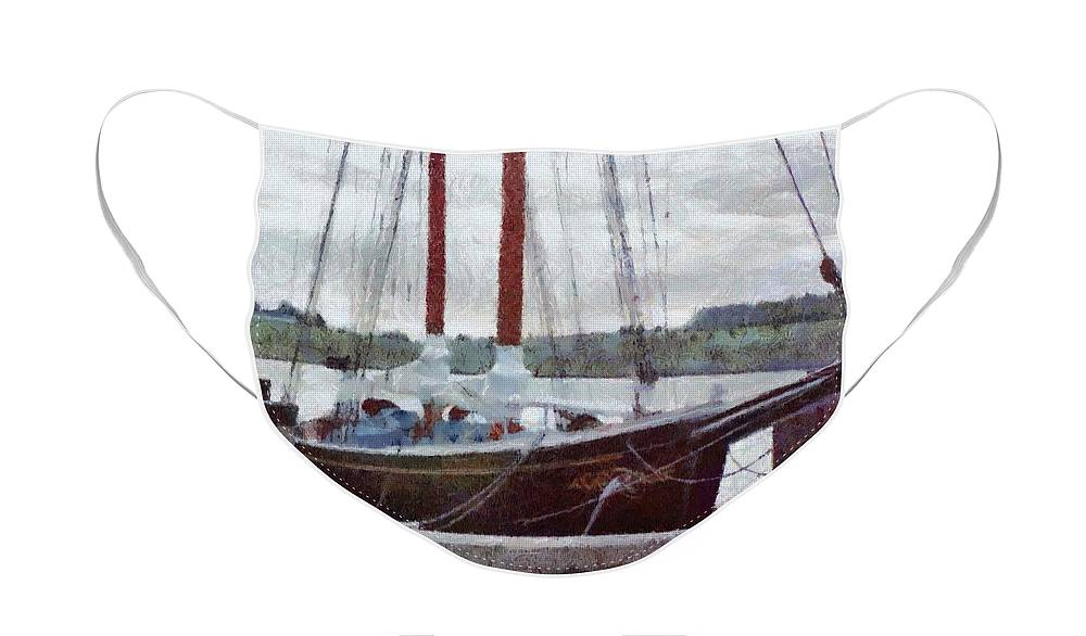 Canadian Face Mask featuring the painting Waiting to Sail by Jeffrey Kolker
