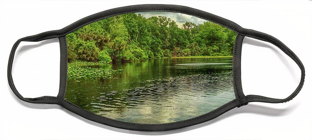 Florida Face Mask featuring the digital art Wakiva Springs by Scott Waters