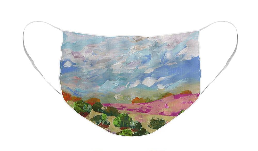Painting Face Mask featuring the painting Walk With Me by Linda Monfort