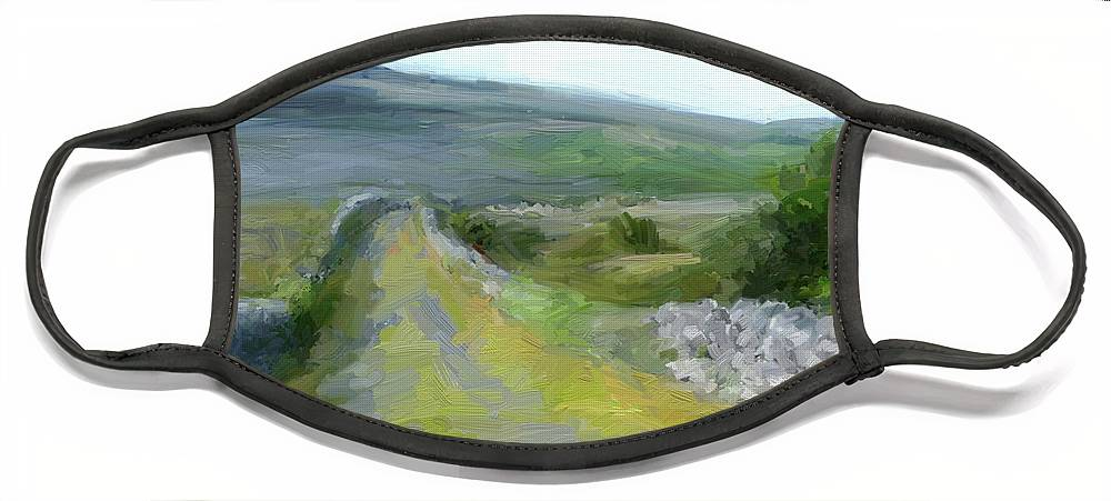 County Clare Face Mask featuring the digital art Walking the Burren by Scott Waters