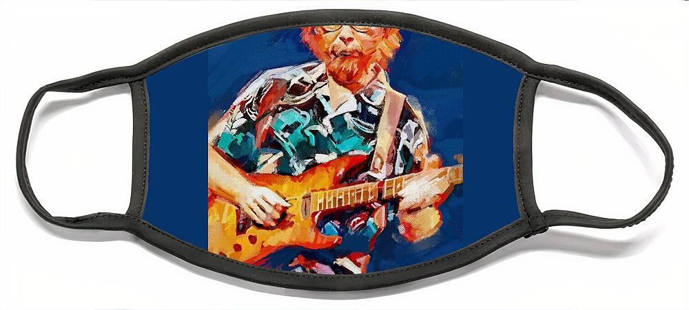 Walter Becker Music Portrait Musician Rock Steeley Dan Face Mask featuring the digital art Uncle Walter by Scott Waters