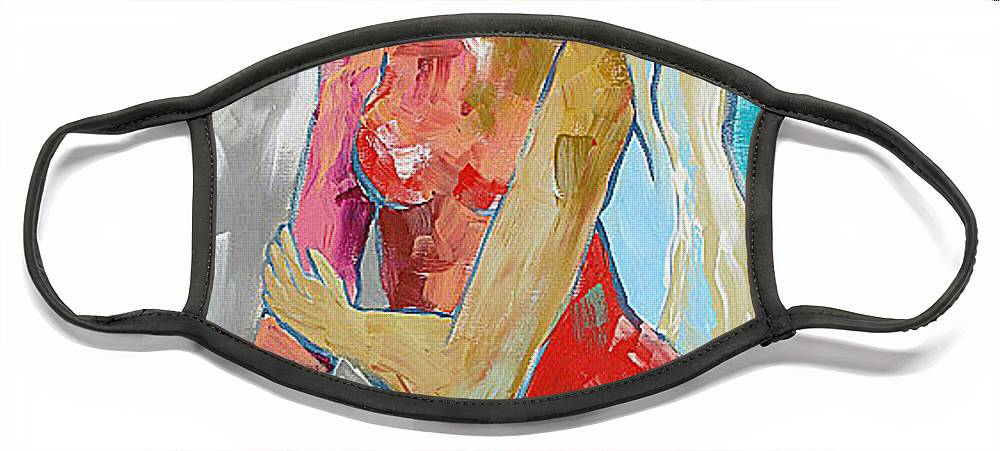 Painting Face Mask featuring the painting Warm Shower by Linda Monfort