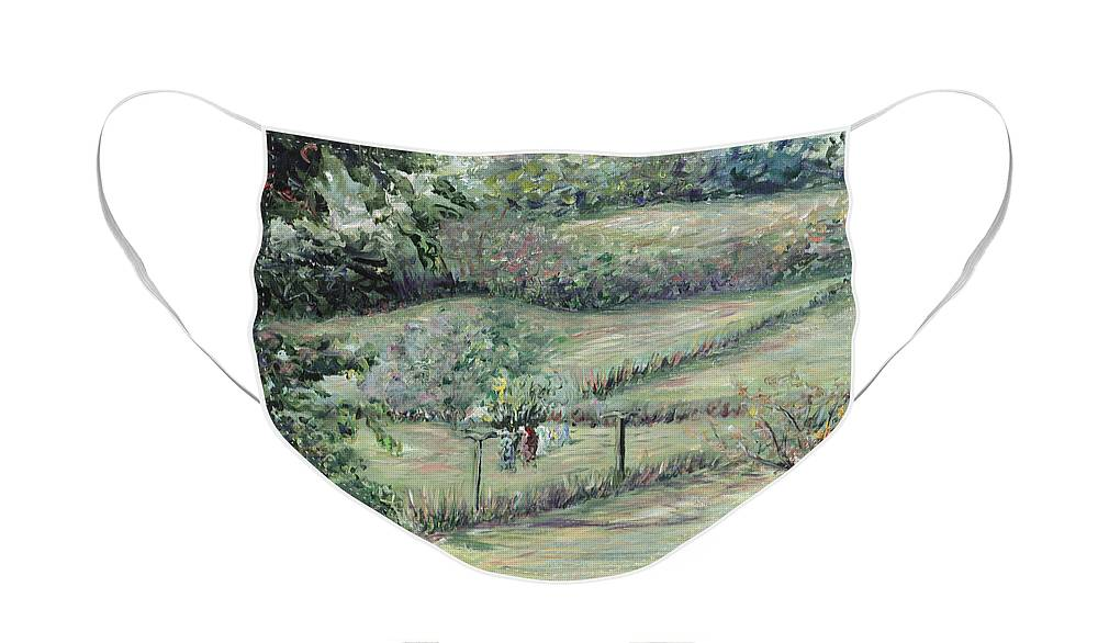 Landscape Face Mask featuring the painting Washday in Provence by Nadine Rippelmeyer